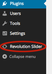 Revolution Slider listed in the Dashboard Navigation